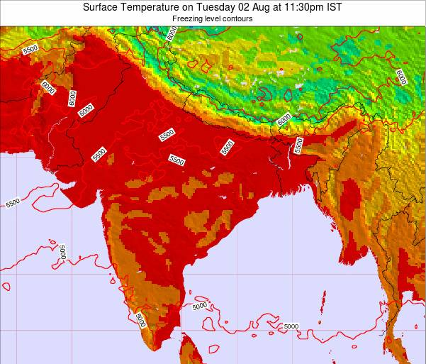 India Surface Temperature on Friday 19 Jul at 11:30am IST map