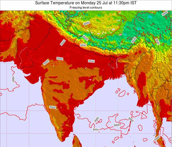 India Surface Temperature on Tuesday 11 Dec at 11:30pm IST map