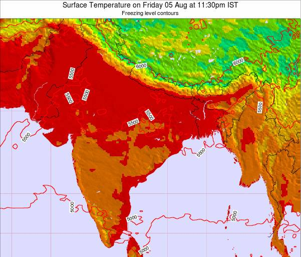 Bangladesh Surface Temperature on Wednesday 29 May at 11:30am IST map
