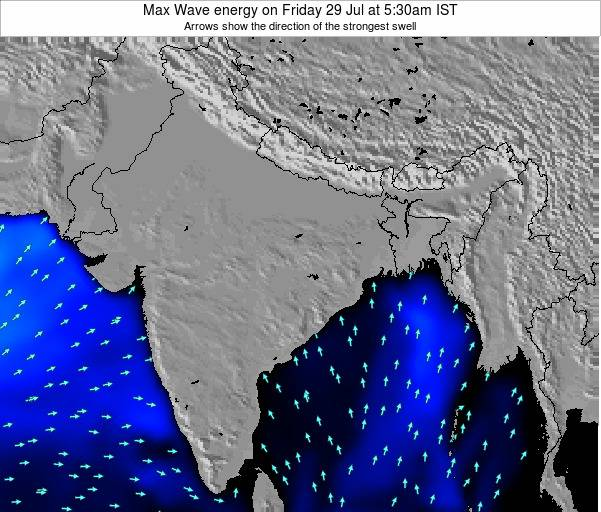 Bangladesh Max Wave energy on Thursday 23 Oct at 5:30pm IST
