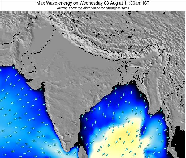 Bangladesh Max Wave energy on Sunday 29 Apr at 11:30am IST map