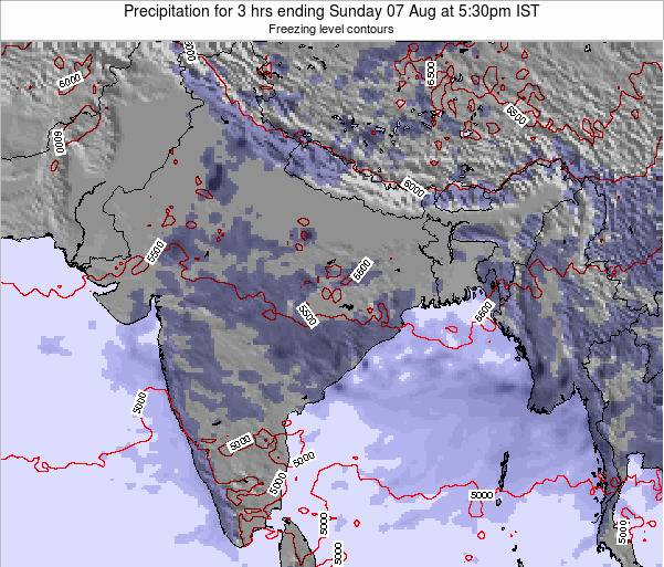 Bangladesh Precipitation for 3 hrs ending Wednesday 25 Dec at 5:30am IST