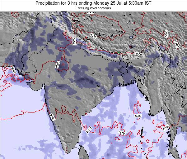 Bangladesh Precipitation for 3 hrs ending Monday 09 May at 5:30am IST