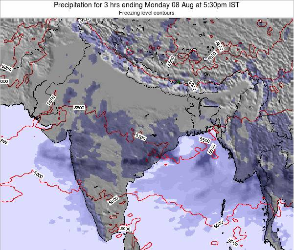 Bangladesh Precipitation for 3 hrs ending Monday 21 Apr at 11:30pm IST