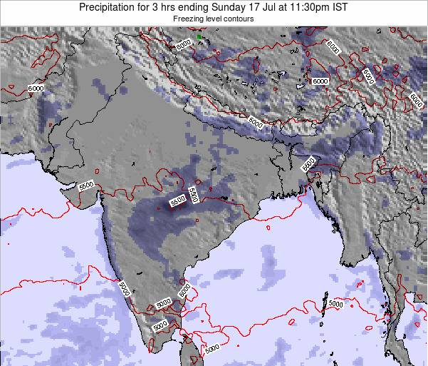 Bangladesh Precipitation for 3 hrs ending Tuesday 24 Dec at 5:30am IST