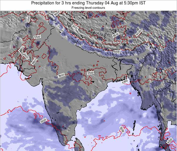 Bangladesh Precipitation for 3 hrs ending Tuesday 05 Aug at 11:30pm IST