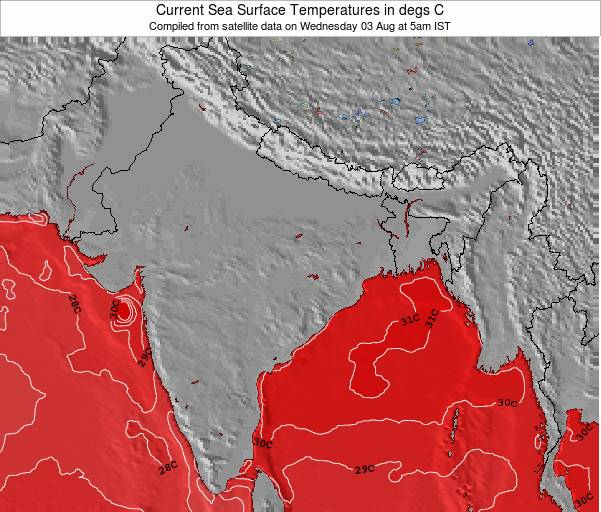 India Sea Temperature Map