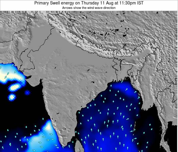 Nepal Primary Swell energy on Sunday 24 Mar at 5:30pm IST map