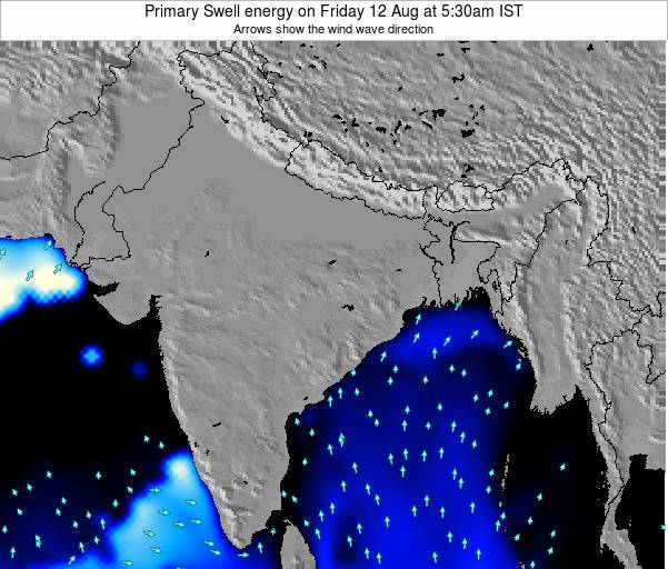 Nepal Primary Swell energy on Monday 25 Mar at 11:30am IST map