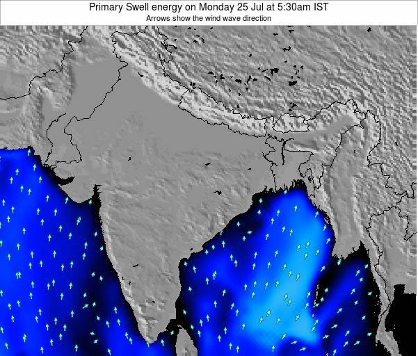Nepal Primary Swell energy on Monday 22 Apr at 11:30am IST map