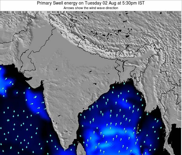 Nepal Primary Swell energy on Thursday 21 Mar at 5:30pm IST map