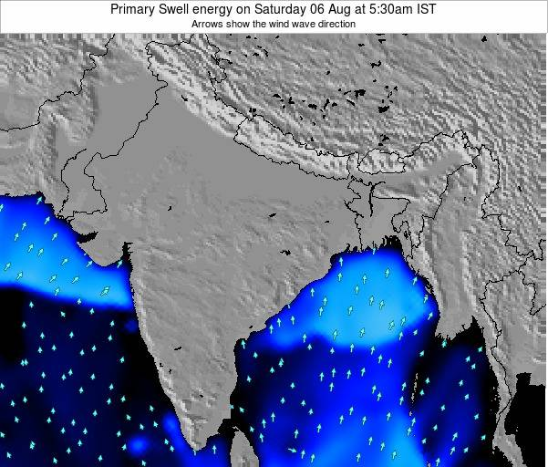 Nepal Primary Swell energy on Sunday 17 Feb at 11:30pm IST map