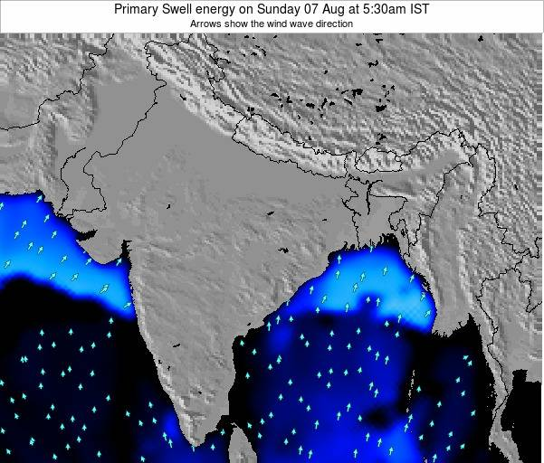 Nepal Primary Swell energy on Saturday 27 Apr at 5:30am IST map