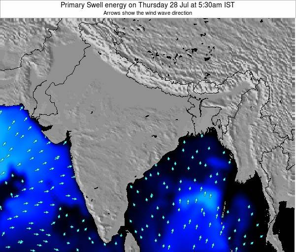 Nepal Primary Swell energy on Friday 22 Mar at 11:30pm IST map