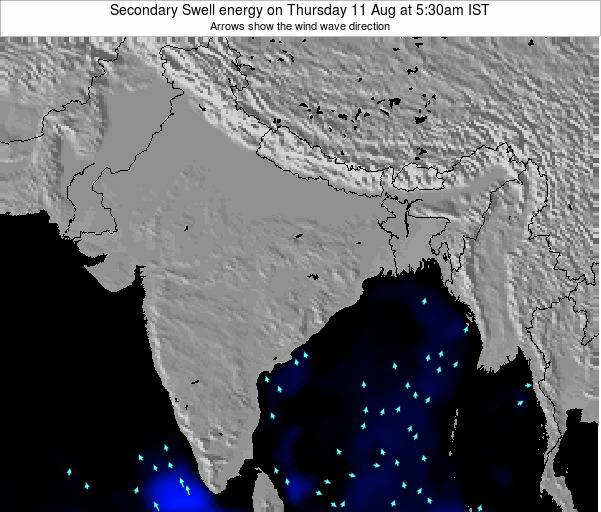 India Secondary Swell energy on Saturday 27 Apr at 11:30pm IST map