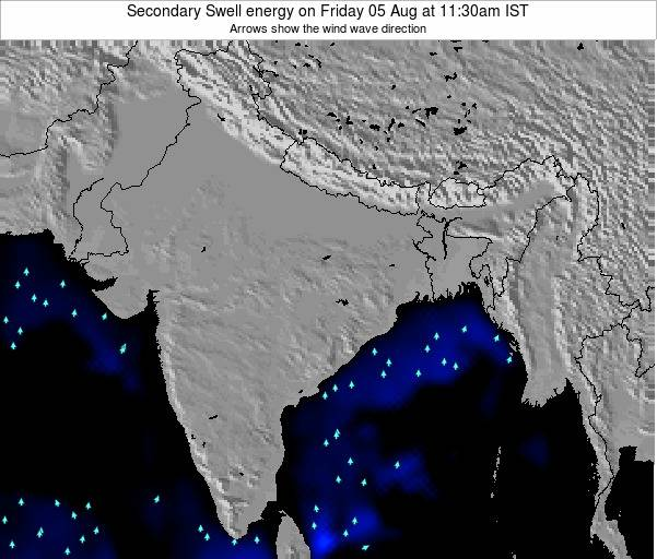 India Secondary Swell energy on Monday 25 Mar at 11:30pm IST map