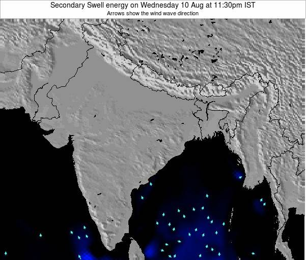 India Secondary Swell energy on Tuesday 25 Jun at 11:30pm IST map