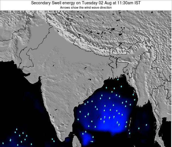 India Secondary Swell energy on Saturday 24 Mar at 5:30am IST map