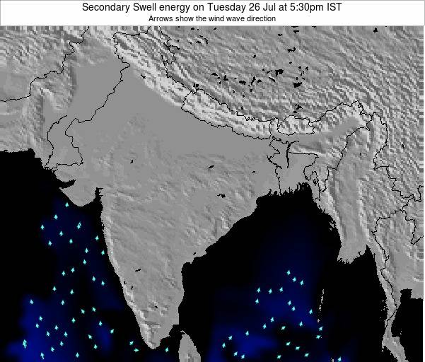 India Secondary Swell energy on Tuesday 17 Jul at 11:30pm IST map