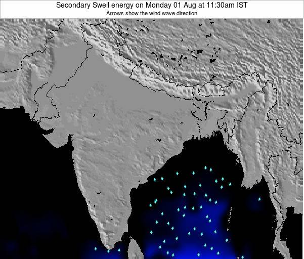 India Secondary Swell energy on Wednesday 12 Dec at 11:30am IST map