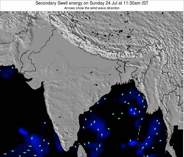 India Secondary Swell energy on Saturday 17 Mar at 5:30am IST map