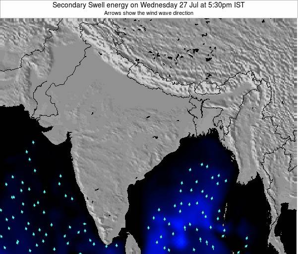 India Secondary Swell energy on Monday 22 Jan at 5:30pm IST map