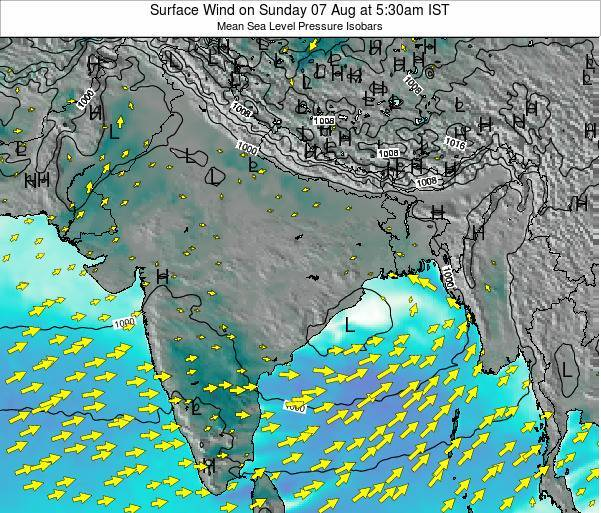 Bangladesh Surface Wind on Wednesday 29 May at 5:30pm IST