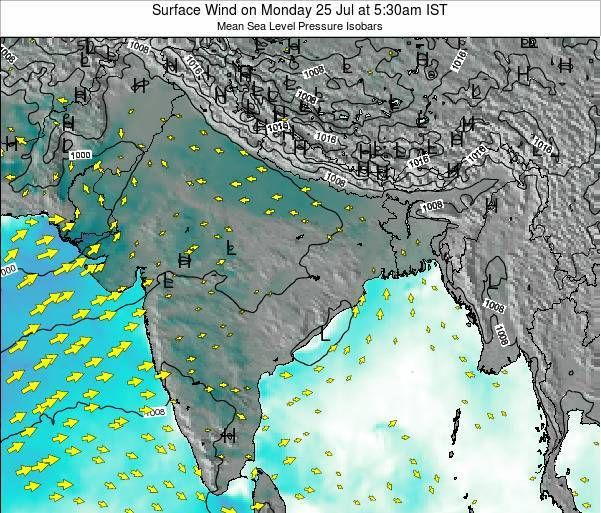 Bhutan Surface Wind on Sunday 19 May at 11:30pm IST map