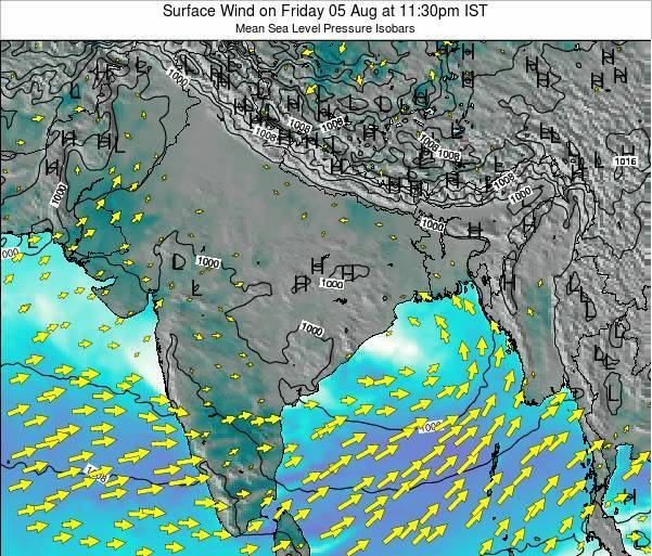 Bangladesh Surface Wind on Saturday 25 May at 11:30am IST
