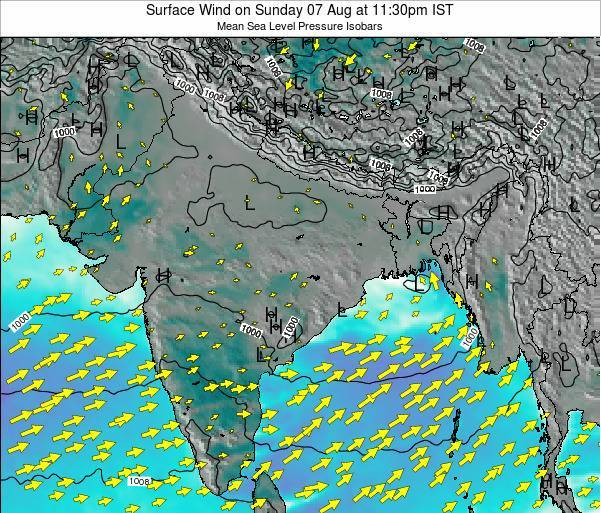 Bangladesh Surface Wind on Thursday 30 May at 5:30pm IST map