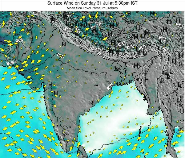 India Surface Wind on Wednesday 22 May at 11:30am IST
