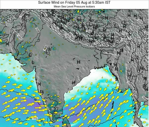Bhutan Surface Wind on Friday 24 May at 11:30am IST map