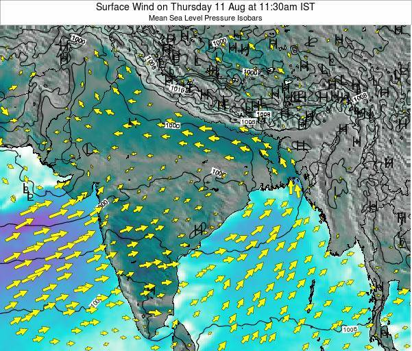 Bangladesh Surface Wind on Sunday 26 May at 11:30pm IST map