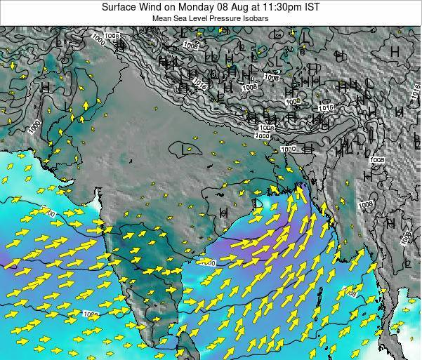 Bhutan Surface Wind on Thursday 23 May at 11:30am IST map
