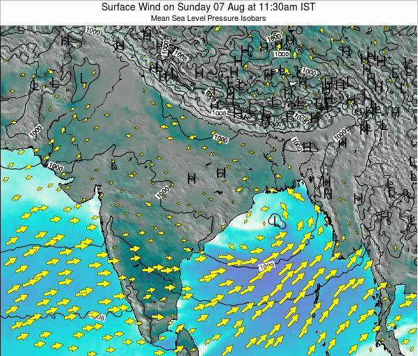 India Surface Wind on Monday 27 May at 11:30pm IST