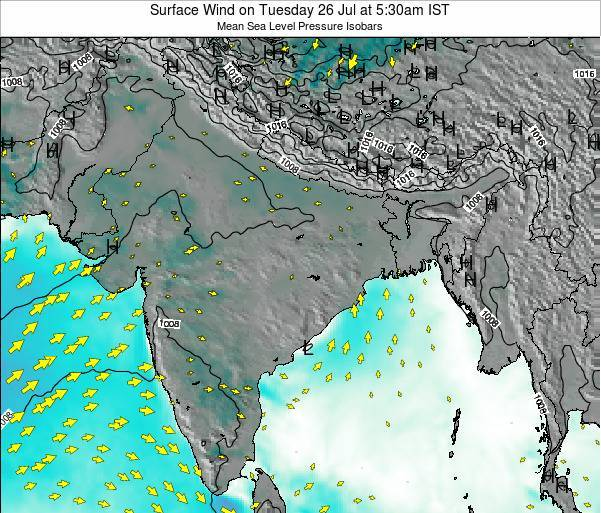 Bangladesh Surface Wind on Saturday 25 May at 5:30pm IST