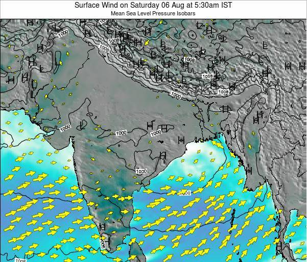 Bhutan Surface Wind on Friday 24 May at 5:30pm IST map