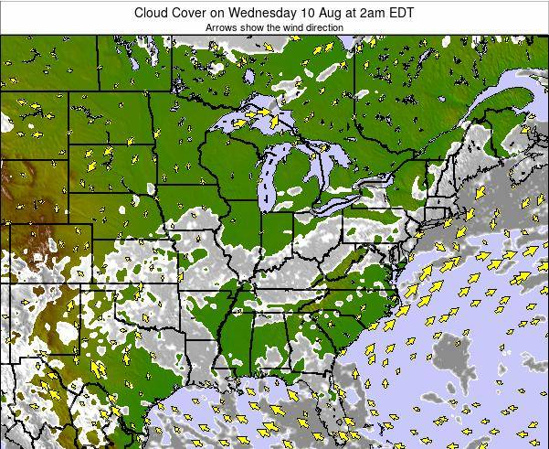 Ohio Cloud Cover on Saturday 25 May at 8am EDT