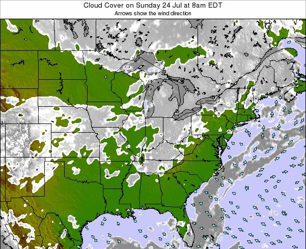 Indiana Cloud Cover on Wednesday 19 Jun at 8pm EDT map