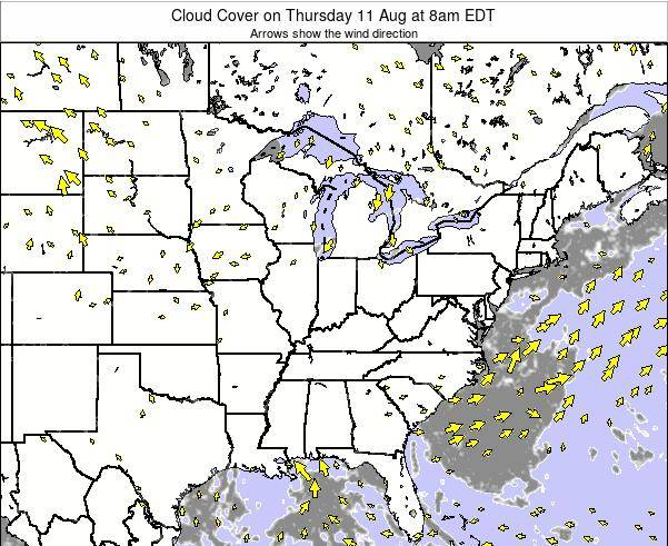 Ohio Cloud Cover on Sunday 26 May at 8pm EDT