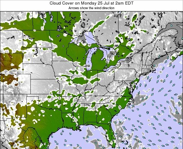 Ohio Cloud Cover on Monday 20 May at 8pm EDT