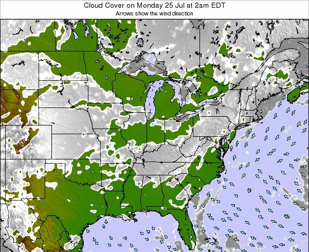 Indiana Cloud Cover on Wednesday 21 Mar at 8pm EDT map