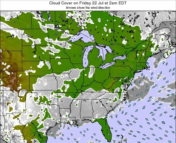 Ohio Cloud Cover on Friday 21 Jun at 2pm EDT