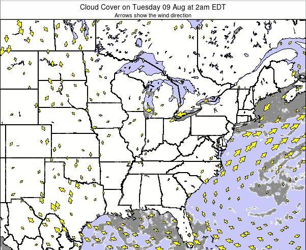 Ohio Cloud Cover on Wednesday 22 May at 8pm EDT