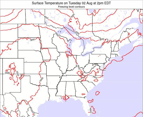 Kentucky Surface Temperature on Friday 24 May at 2am EDT map