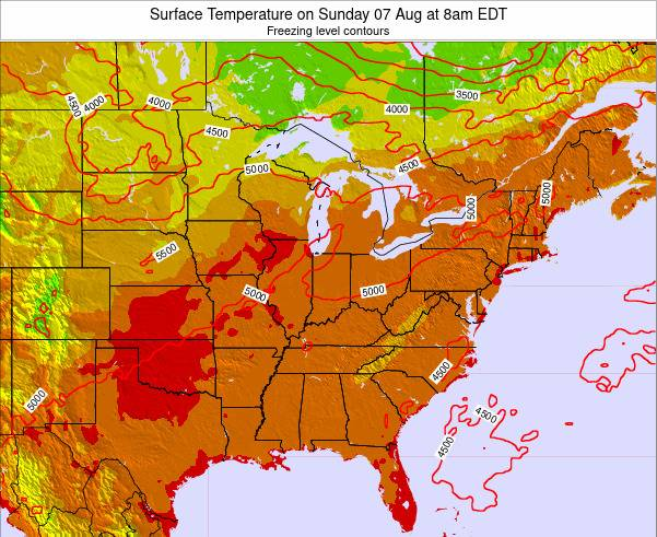 Kentucky Surface Temperature on Monday 27 May at 8pm EDT map