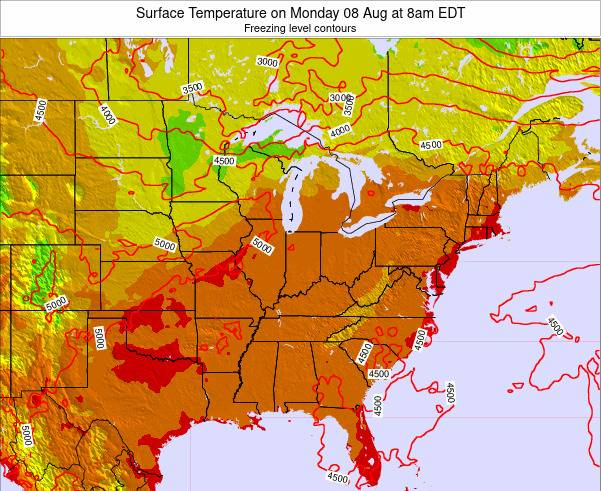 Kentucky Surface Temperature on Wednesday 22 May at 2pm EDT map