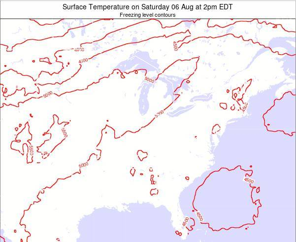 Kentucky Surface Temperature on Friday 24 May at 8pm EDT map