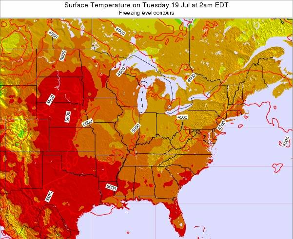 Indiana Surface Temperature on Monday 20 May at 2pm EDT