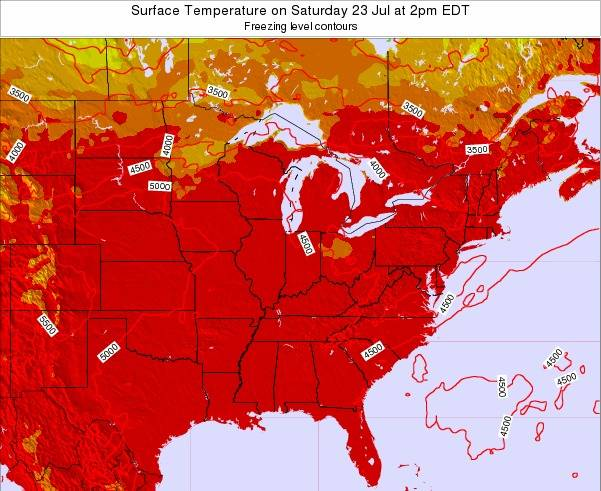 Indiana Surface Temperature on Thursday 22 Mar at 2pm EDT map